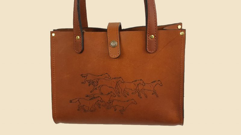 f0e66cfd56a Running Horses Leather Tote Bag/Purse